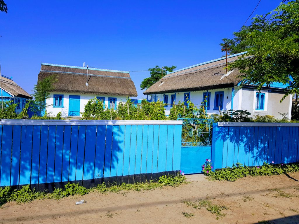 White and blue traditional houses of Letea