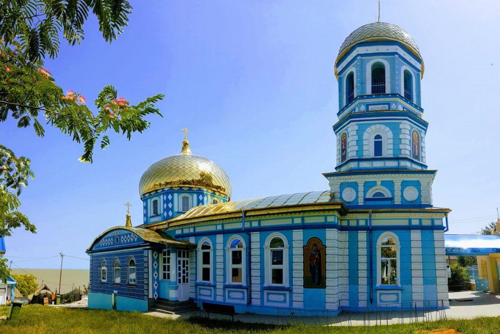 Blue and gold church in Sarichioi