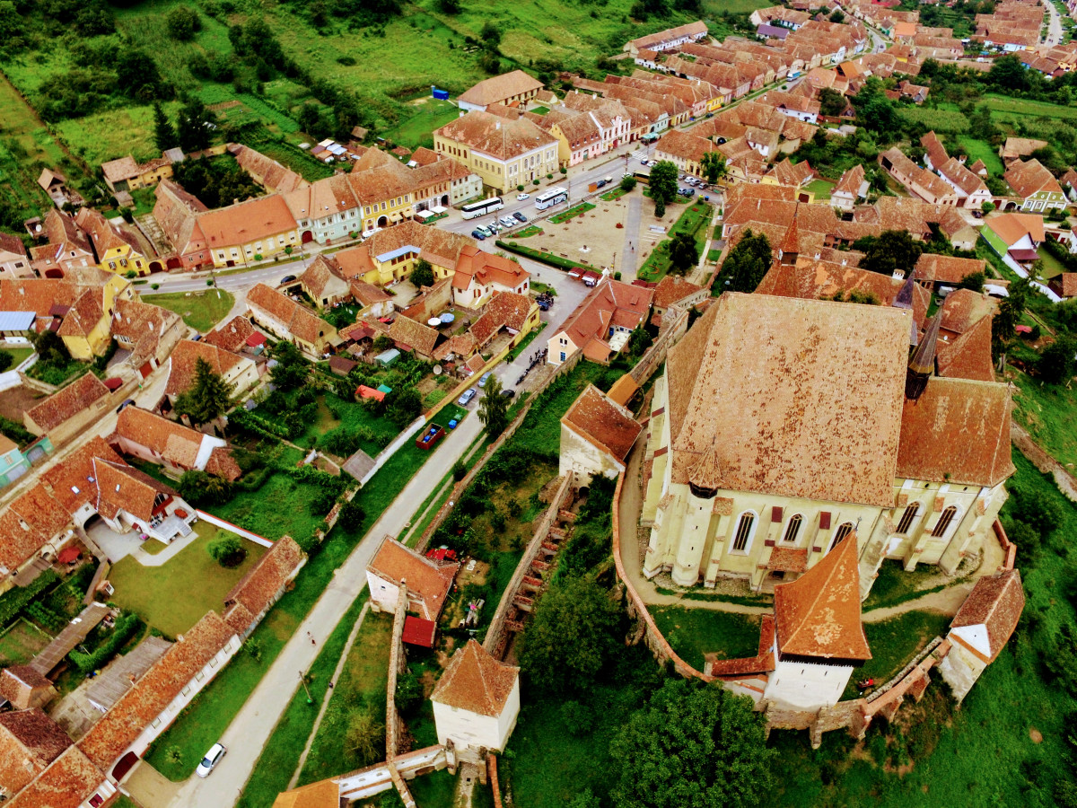 Biertan village and fortified church from above