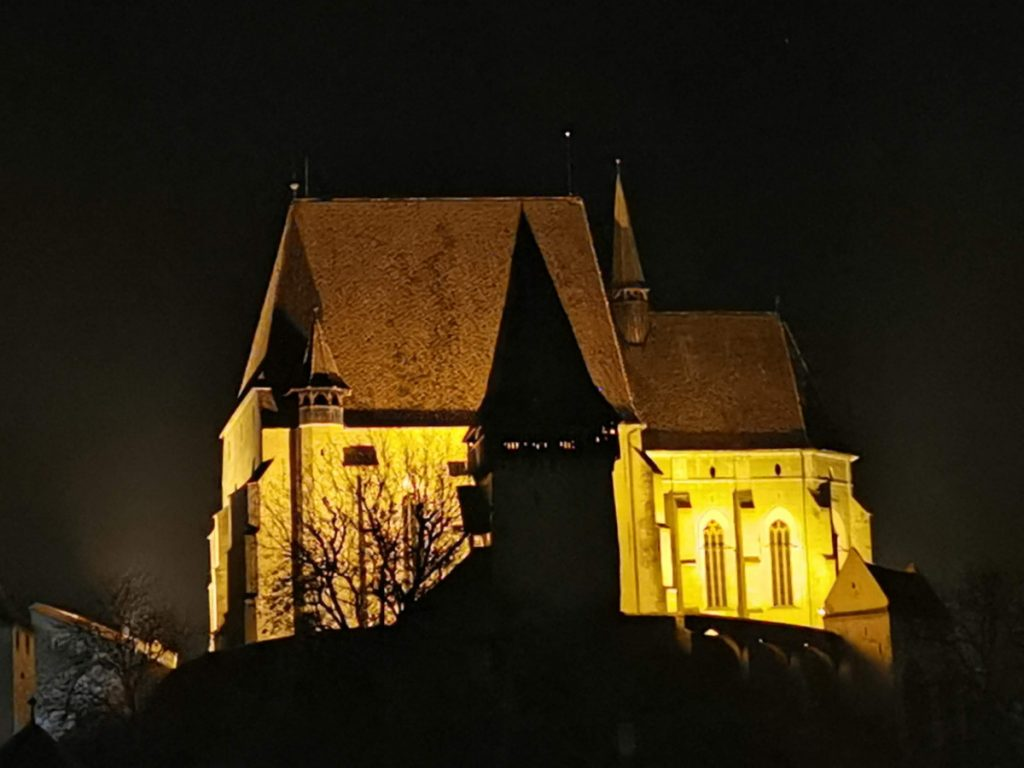 Biertan Church by night