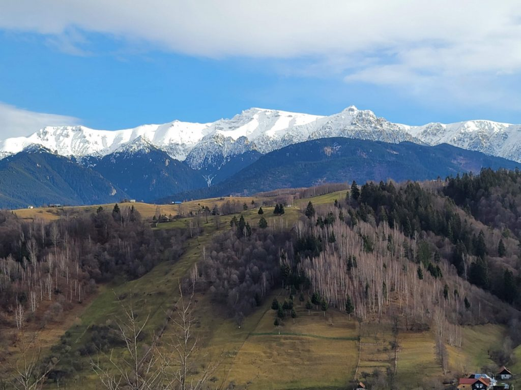 View over Bucegi Mountains from Rucar Bran Road