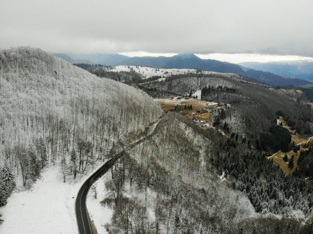 Rucar Bran Road in winter