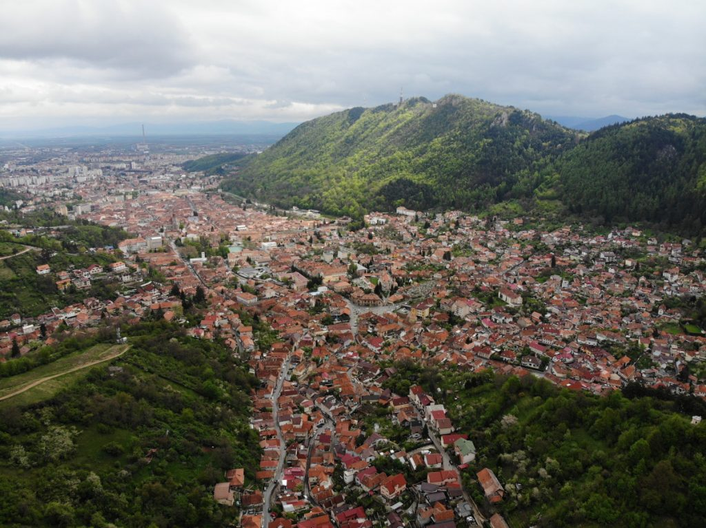Brasov panorama from the viewpoint on the road to Poiana Brasov