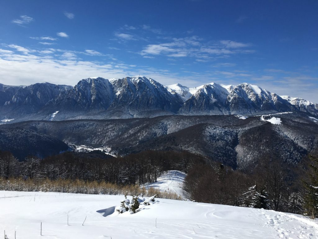 View of Bucegi Mountains from Baiului Mountains