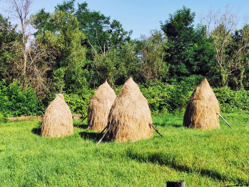 Haystacks on the road